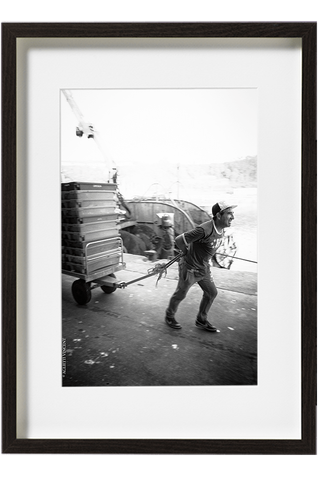 José docker dans le port de Nazaré tire son chariot le long des quais pour le décharger à la criée.