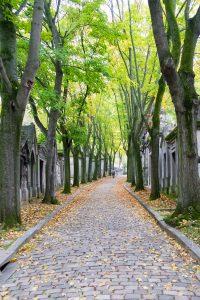 Une des allées du cimetière du Père Lachaise remontant vers le crématorium.
