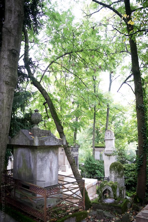 Vue en escalier du cimetière du Père Lachaise.