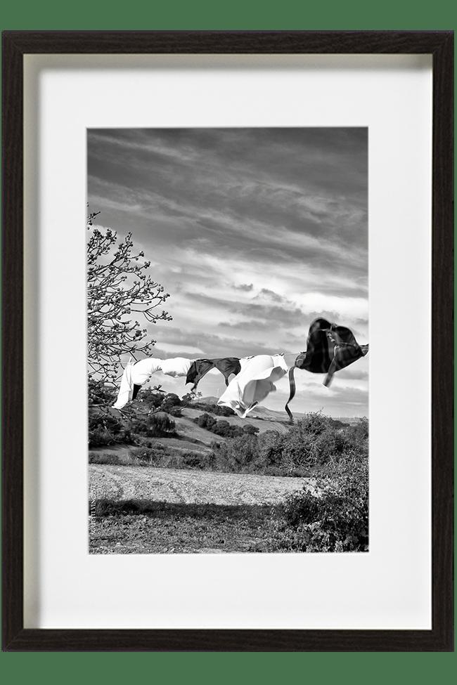 En Alentejo, au Portugal, du linge flotte au vent sur une corde à linge au milieu d'un champs. L'ombre du linge forme une ligne foncée sur le sol.