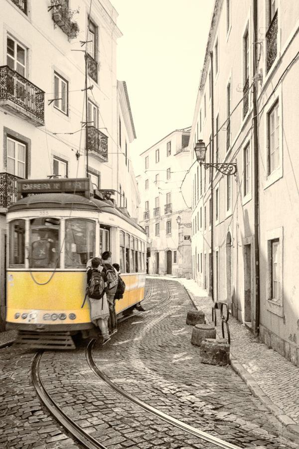 Comme sur des Roulettes. Les enfants d'Alfama à Lisbonne rentrent de l'école en bus.