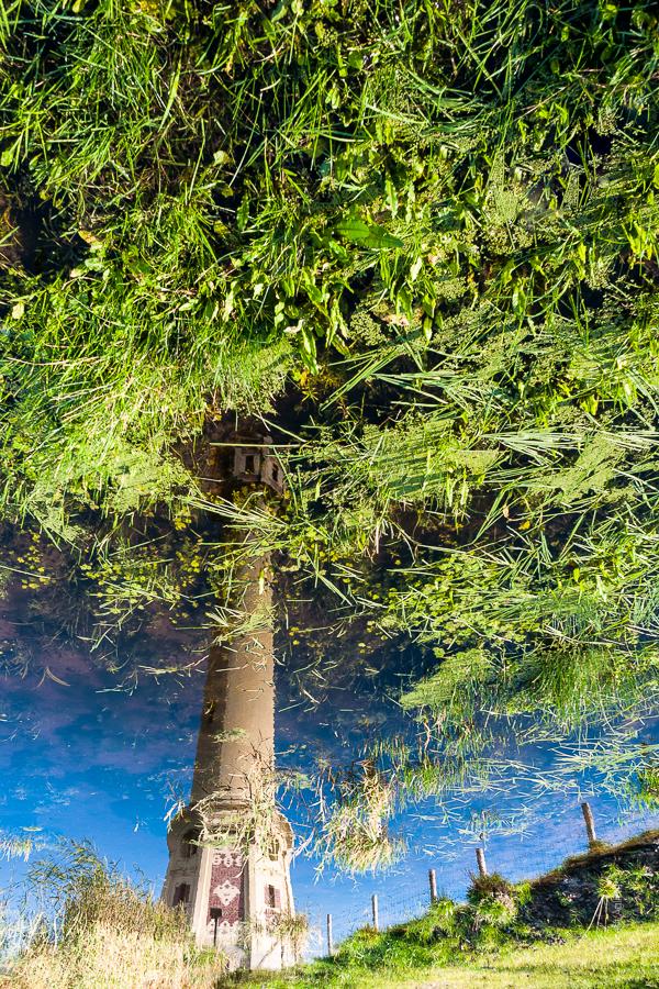 Reflet d'un Phare, un phare se reflétant dans une mare se prend pour un arbre.