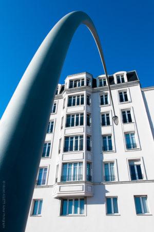 Un réverbère de Cherbourg sur le front de mer.